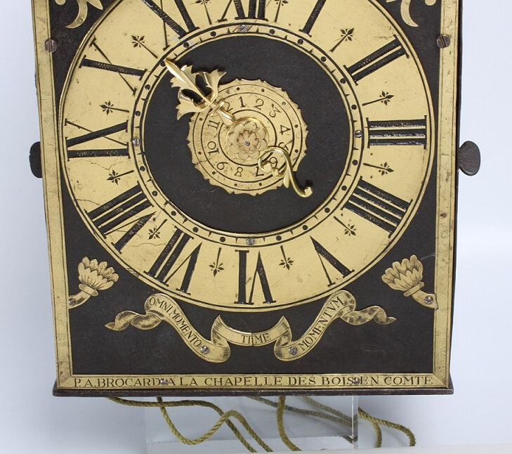 French Morbier iron brass wall clock Brocard 1740