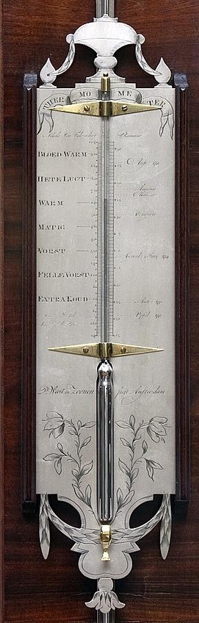 Dutch Louis XVI Mahogany Stick Barometer Wast Amsterdam 1760