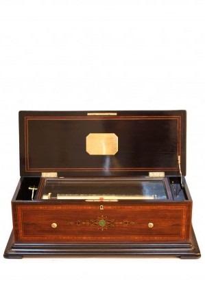 Swiss Music Box Cylinder Conchon Rosewood Mandoline Quatuor Circa 1870