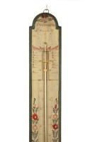 French Polychrome Painted Stick Barometer Circa 1800
