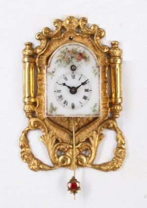 A Miniature Austrian Ormolu Wall Timepiece, Circa 1850