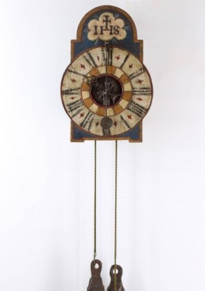 A South German Polychrome Iron Wall Clock, Circa 1730