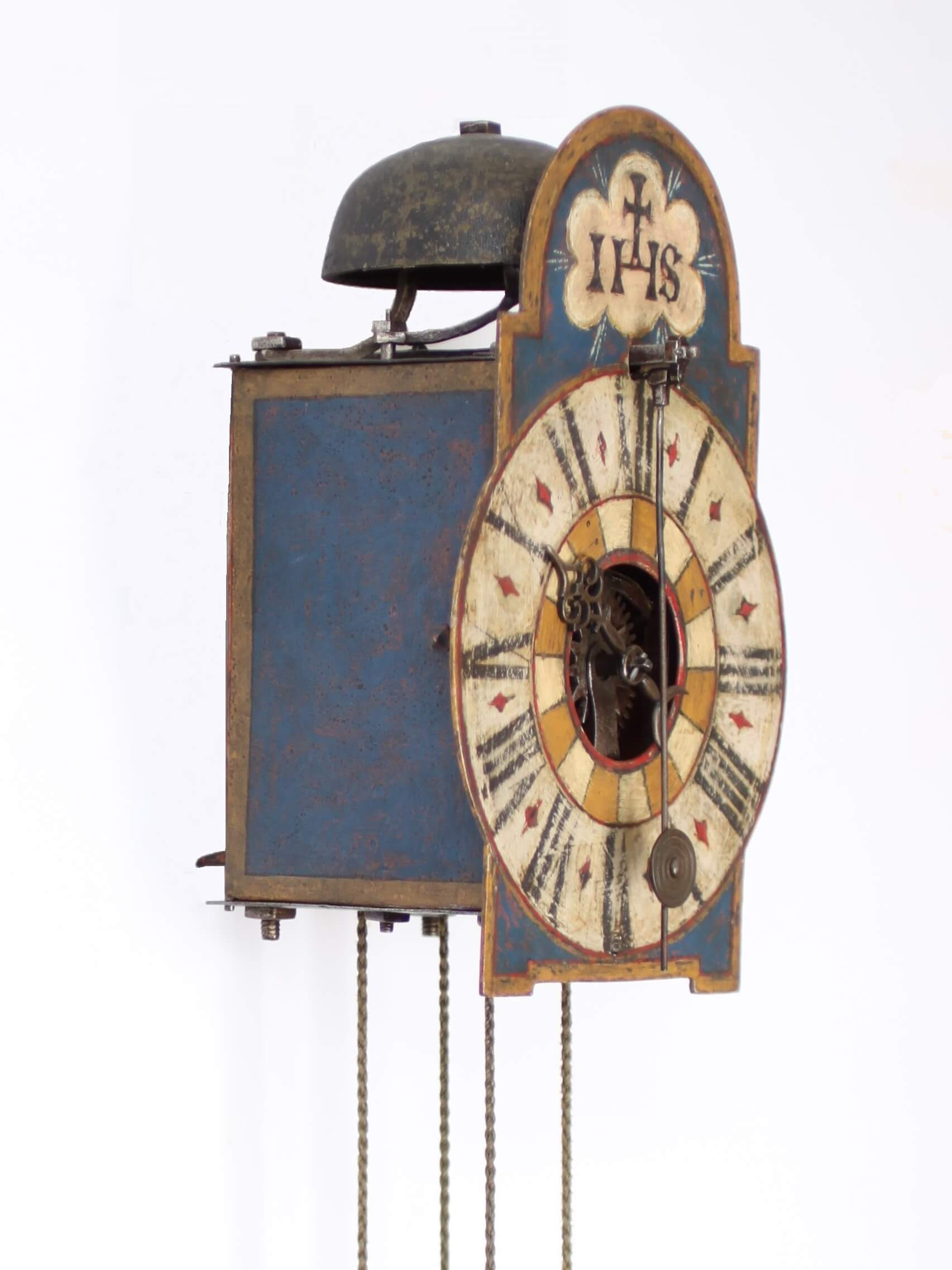 South German Tirol Polychrome Iron Front Pendulum Striking Wall Clock