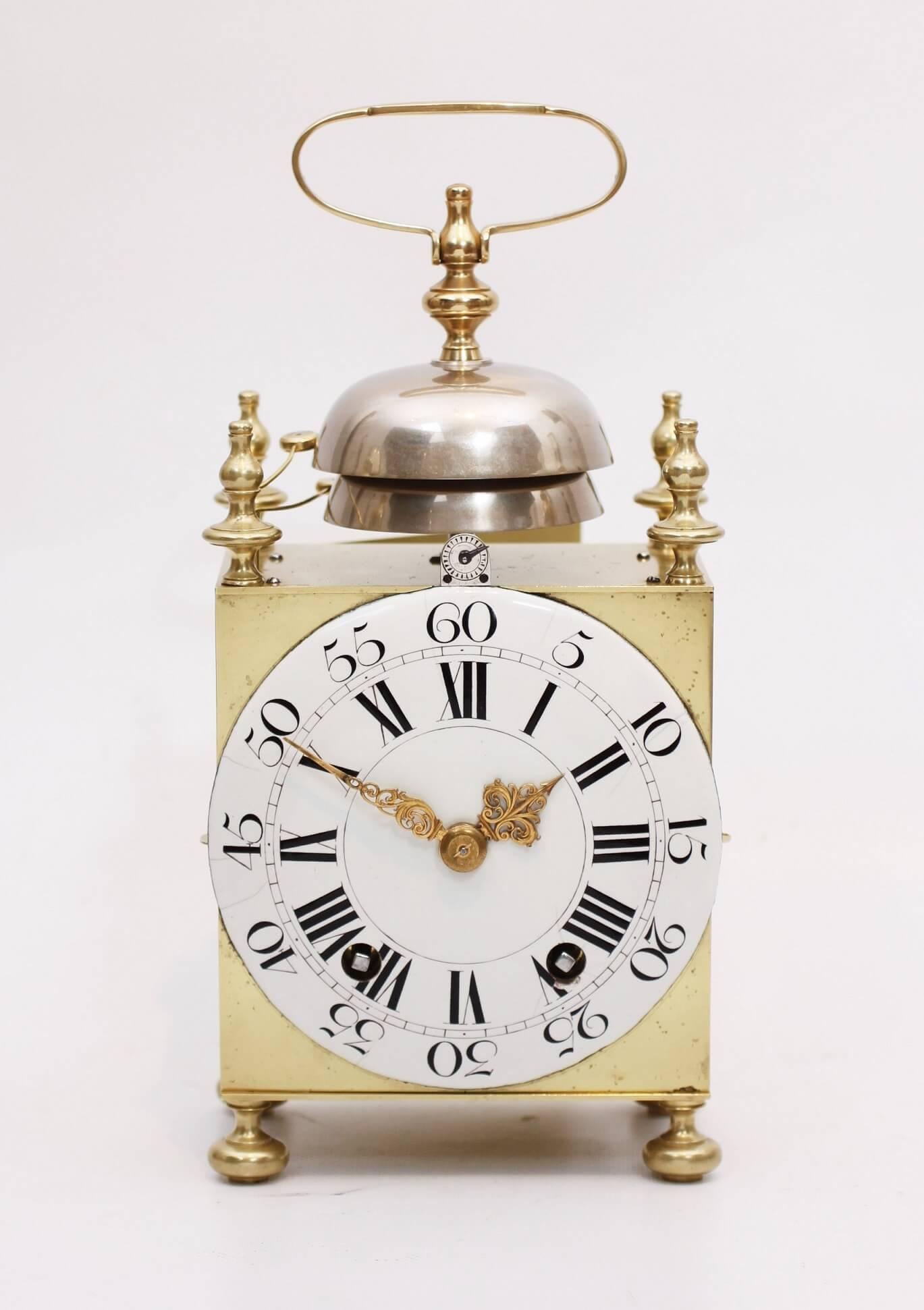 French Brass Capucine Quarter Striking Travel Clock Bechet Circa 1770