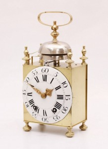 French brass capucine quarter striking travel clock Bechet circa 1770