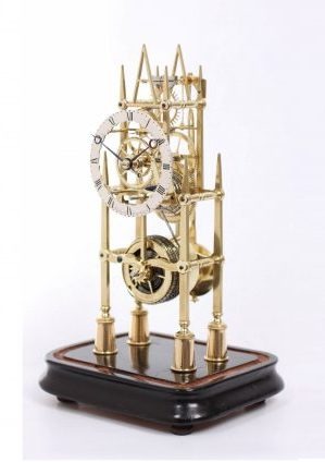 An English Brass Skeleton Timepiece, Thelwell Manchester Circa 1860