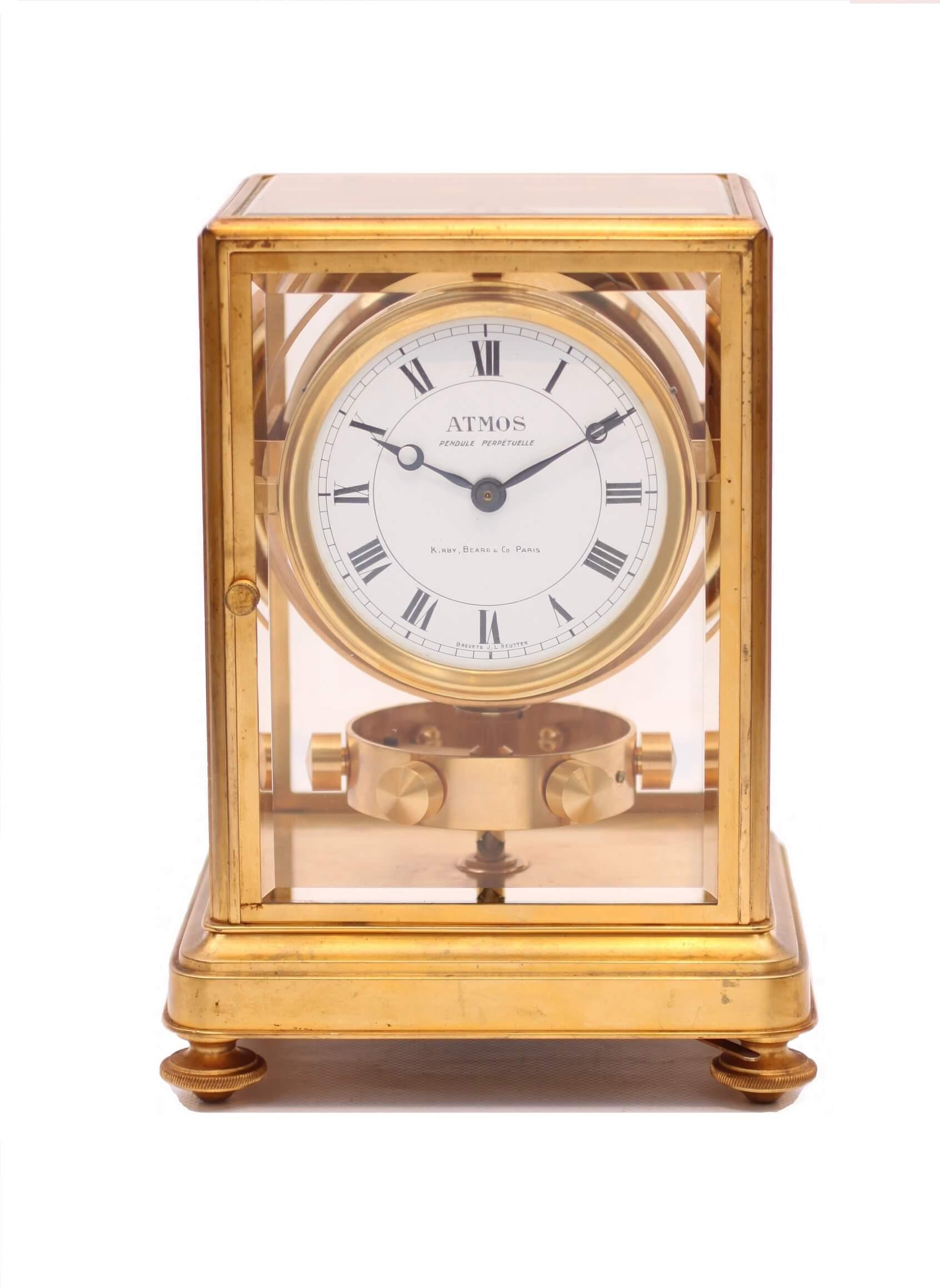 French gilt brass atmos clock Reutter circa 1930