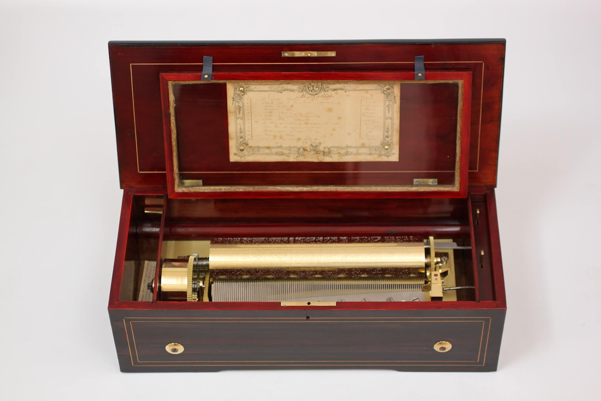 Swiss Rosewood Cylinder Music Box LeCoultre Circa 1860