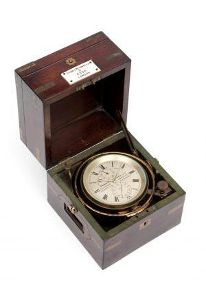 Een Britse Mahonie 2-daagse Chronometer Dobbie McInnes Ltd, Circa 1880