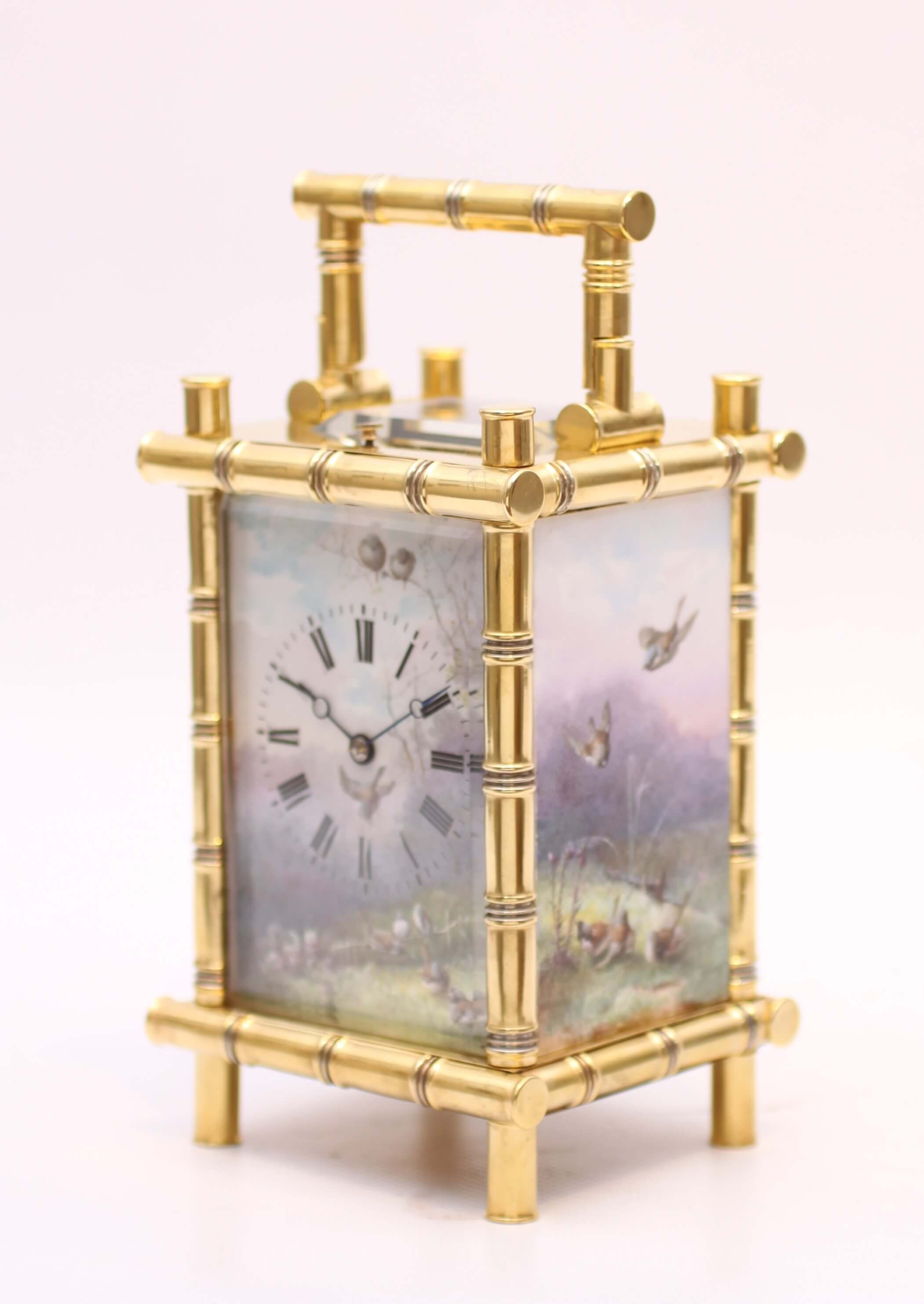 French Bamboo Style Carriage Clock Porcelain Sevres Antique