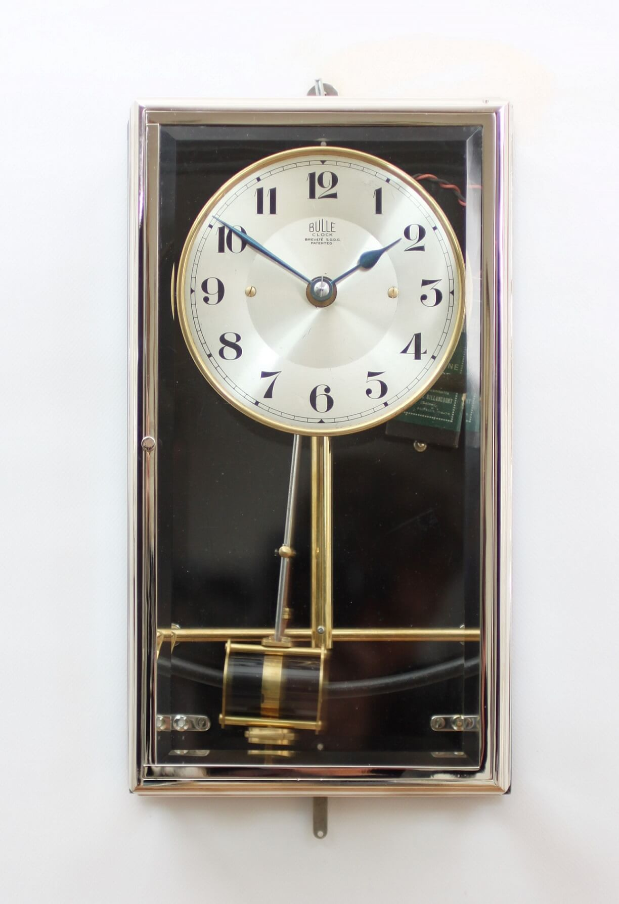 A French Nickel Plated Electrical Timepiece Bulle Clock