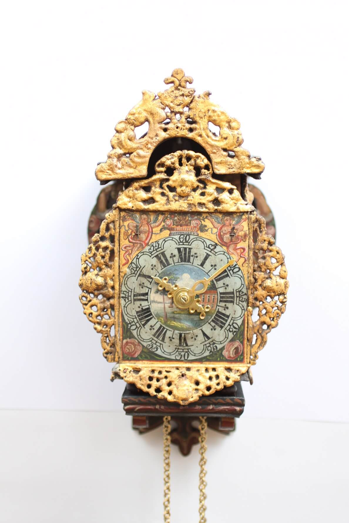 Dutch-miniature-Frisian-striking-wall clock-antique-stoelschippertje-circa 1780