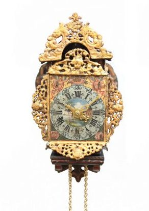 A Miniature Frisian Polychrome Wall Clock, Circa 1800