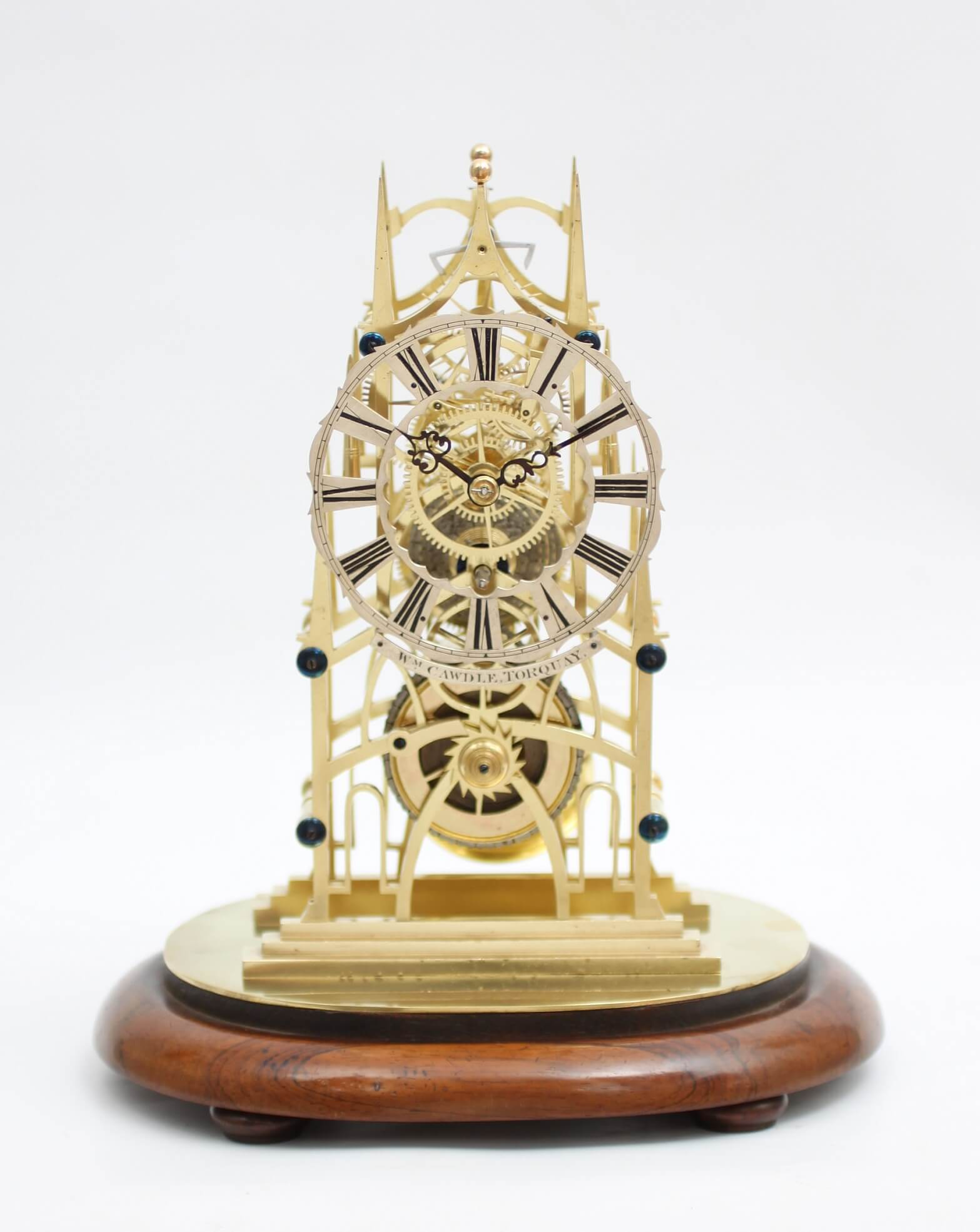 English brass skeleton antique clock fusee Cawdle circa 1850