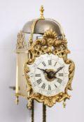 Antique Clock Miniature French Brass Transition Enamel Dial Lantern Clock