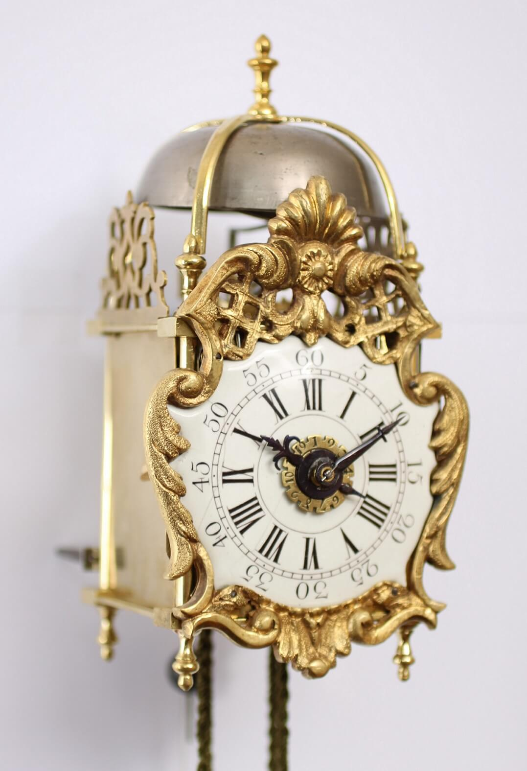 antique clock miniature French brass Transition enamel dial lantern clock
