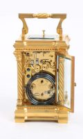 French Antique Clock Carriage Gilt Bronze Petite Sonnerie Travel