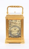 Antique Clock French Gilt Brass Gorge Case Repeating Carriage Clock