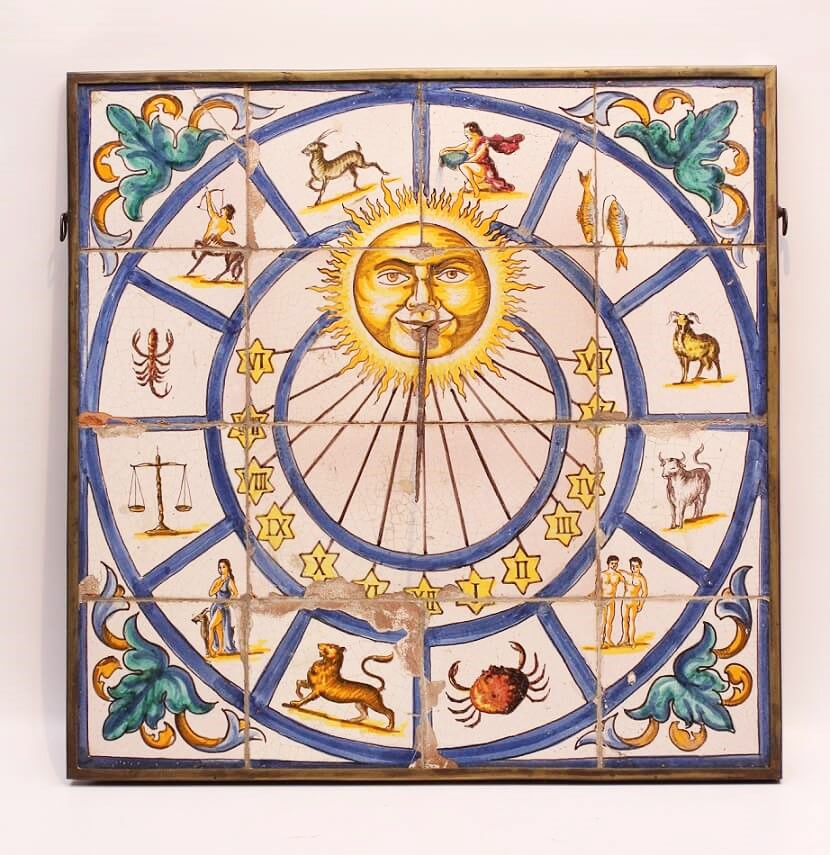 Antique Clock Portugese Fayence Sundial
