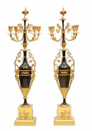 A Magnificent Pair Of French Empire Patinated And Ormolu Candelabra, Circa 1800