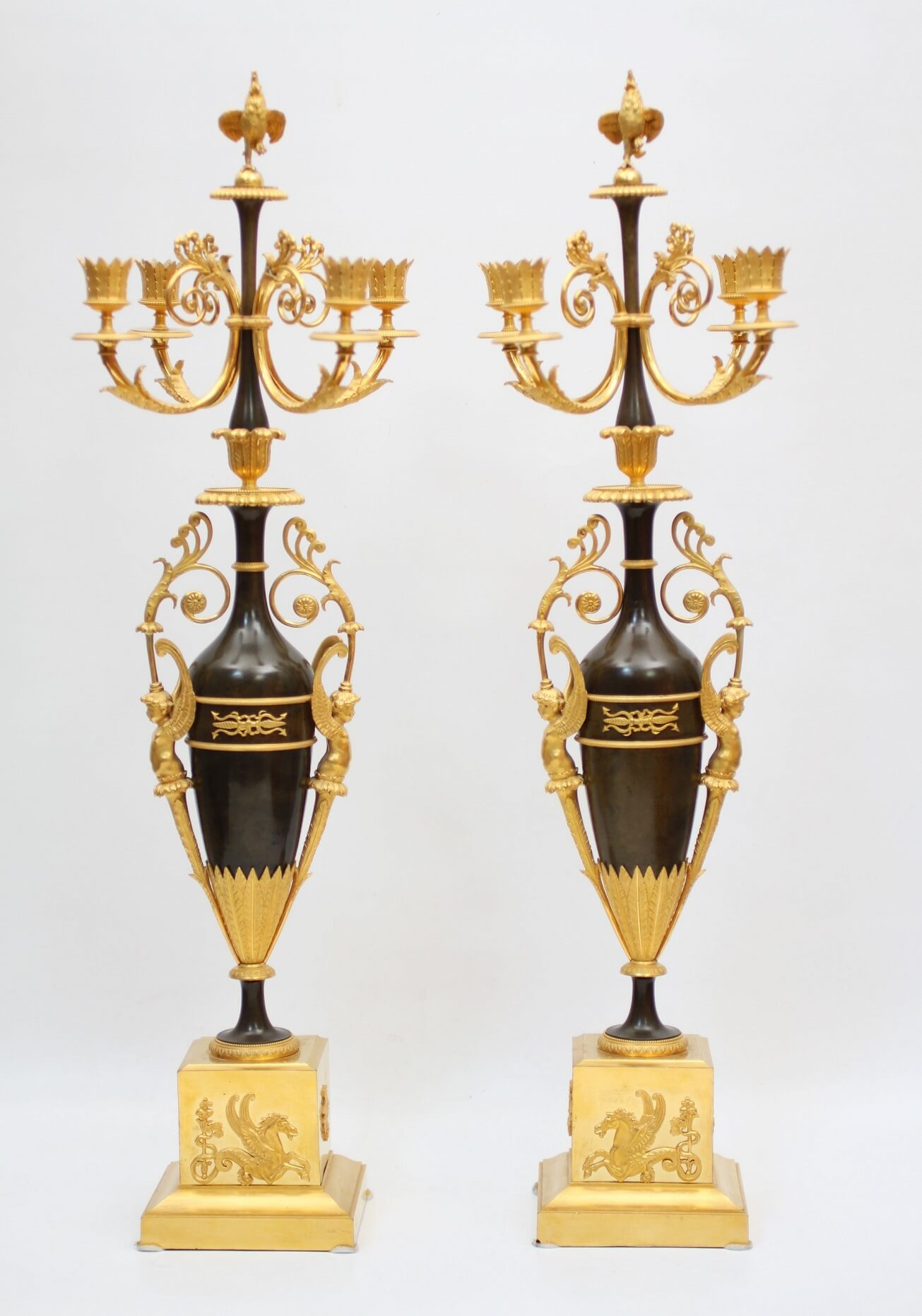 French Patinated Bronze Ormolu Empire Candelabra