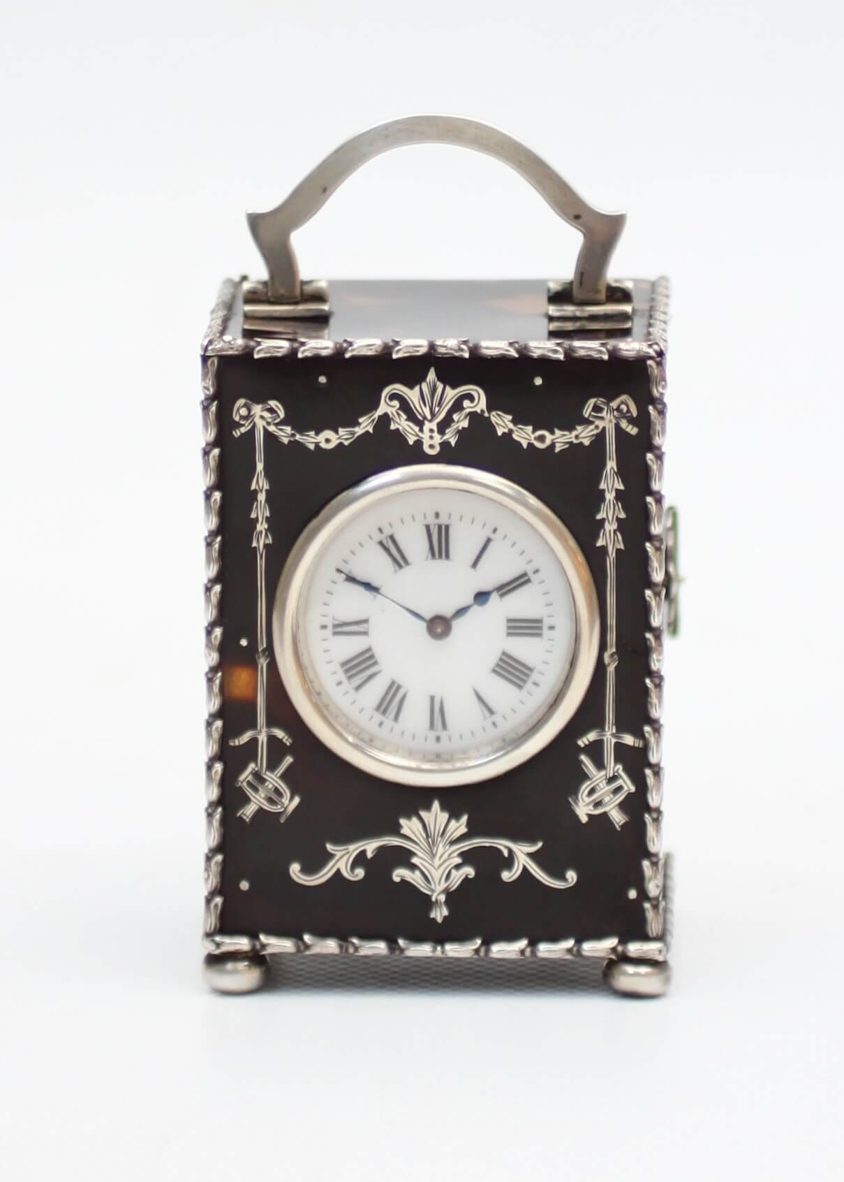miniature English silver tortoiseshell carriage clock London