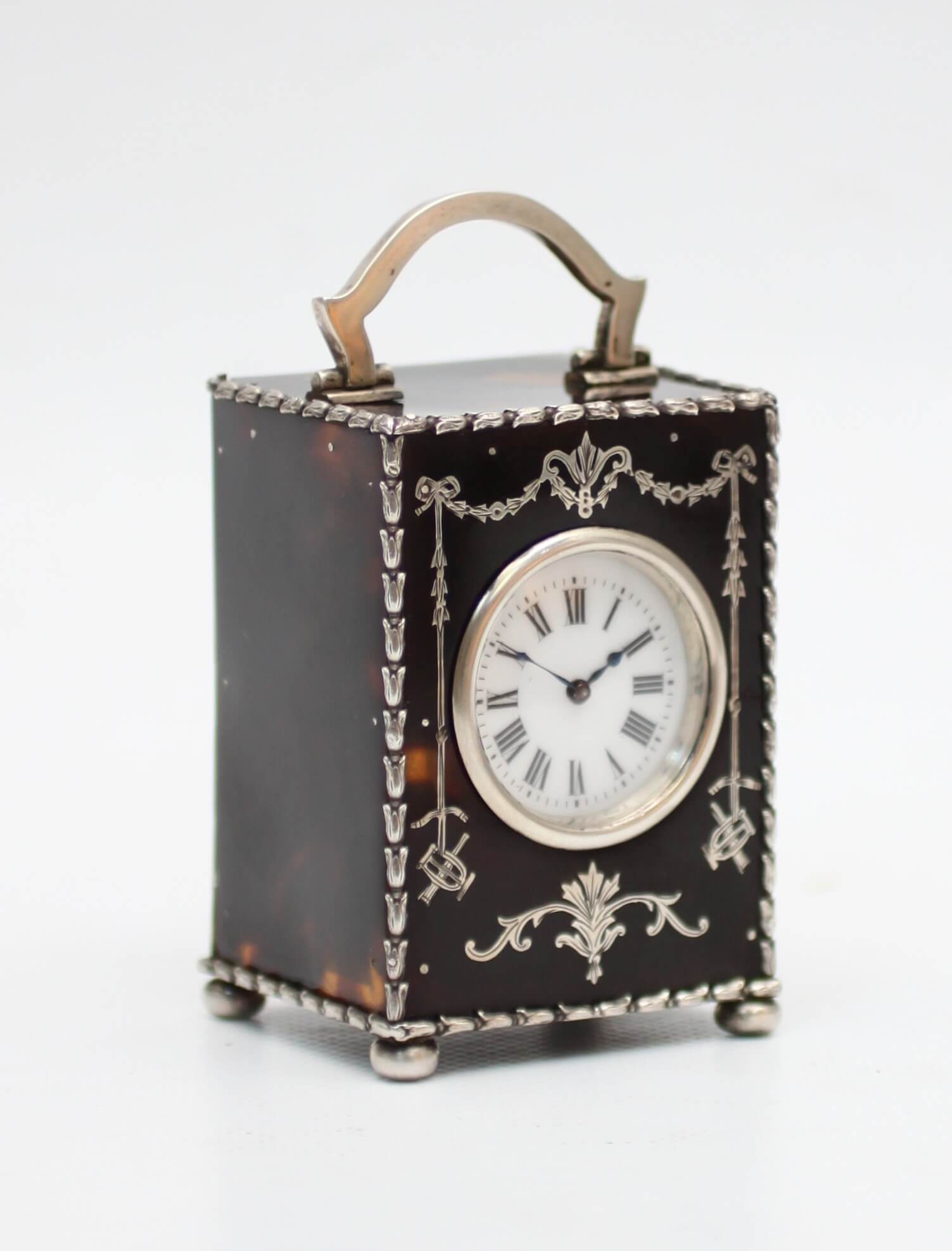 Miniature English Silver Tortoiseshell Carriage Clock London