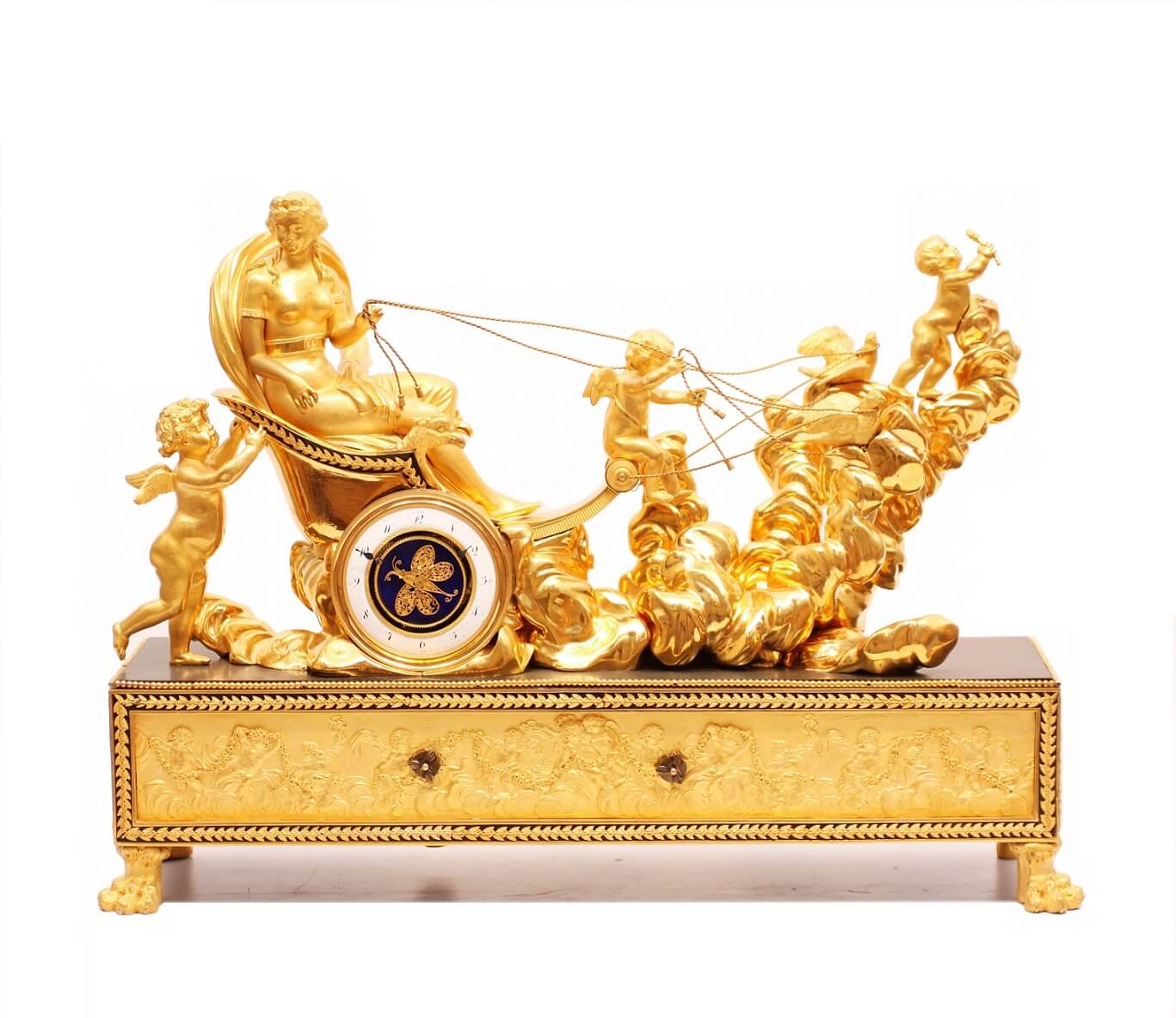 French Empire Ormolu Chariot Mantel Clock Automaton Deverberie Circa 1800