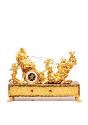 A Very Rare French Empire Ormolu Chariot Automaton Mantel Clock, Deverberie Circa 1800