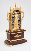 French Marble Gilt Bronze Enamel Bras En L'air Mantel Clock, Circa 1880