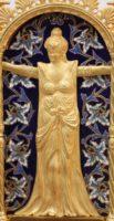 French Marble Gilt Bronze Enamel Bras En L'air Mantel Clock, Circa 1880