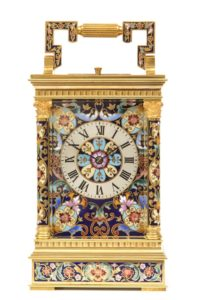 French antique clock carriage travel cloisonné