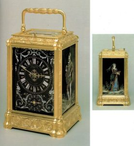 antique clock French Limoges enamel carriage clock