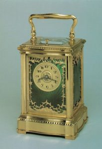 French antique clock carriage travel enamel