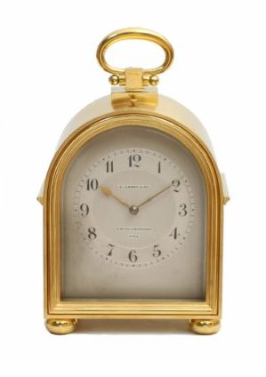 A Fine French Gilt Brass Humpback Travel Clock By L. Leroy & Cie, Circa 1900