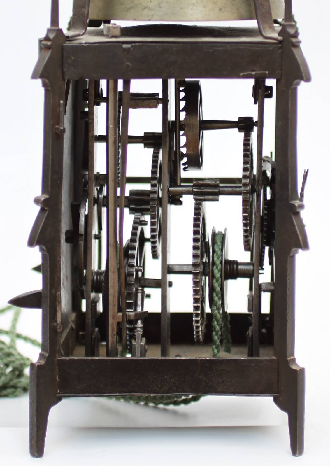 Swedish Polychrome Iron Gothic Striking Antique Clock