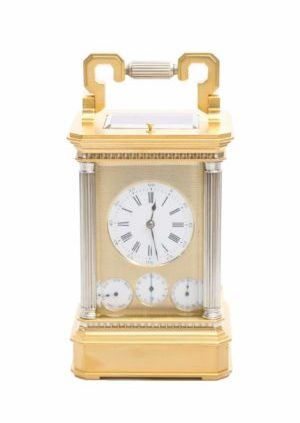 A French Gilt And Silvered Carriage Clock With Calendar, Circa 1870.