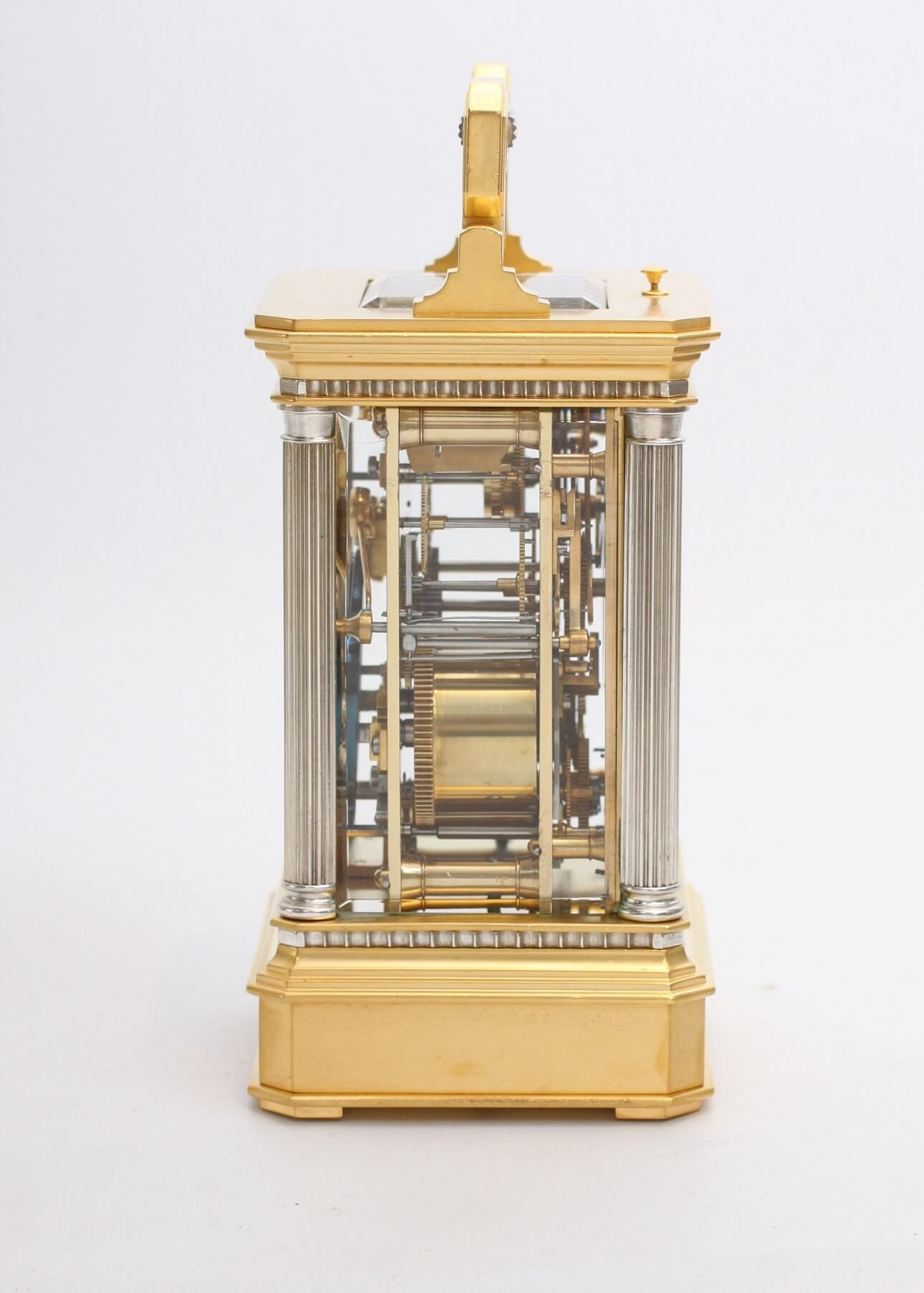 French Travel Carriage Clock Calendar Brass Gilt Silvered
