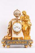 French Louis XVI Urania Ormolu Marble Sculptural Mantel Clock 1770