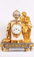 French Louis XVI Urania Ormolu Marble Sculptural Mantel Clock 1770