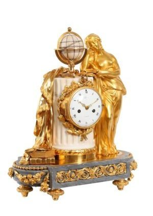 A French Louis XVI Ormolu And Marble Sculptural Mantel Clock, Urania Circa 1770.
