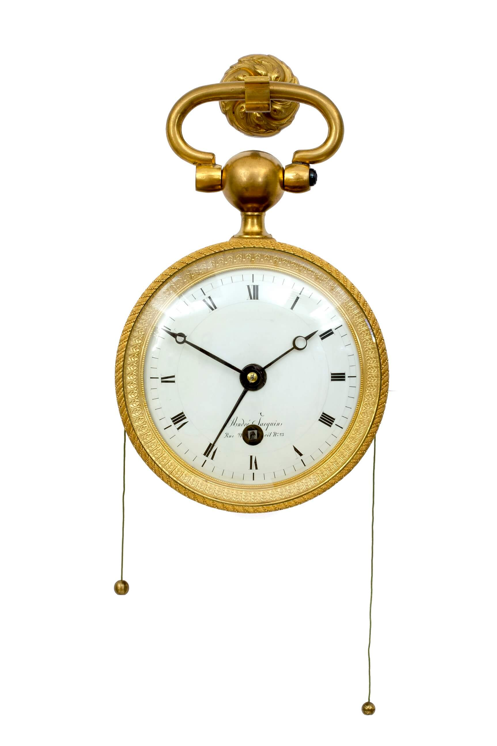 French-antique clock-pendule d'officier-quarter repeat-ormolu-Empire-