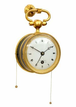 A French Empire Patinated And Gilt Bronze Coach Timepiece With Quarter Repeat And Alarm, Circa 1800