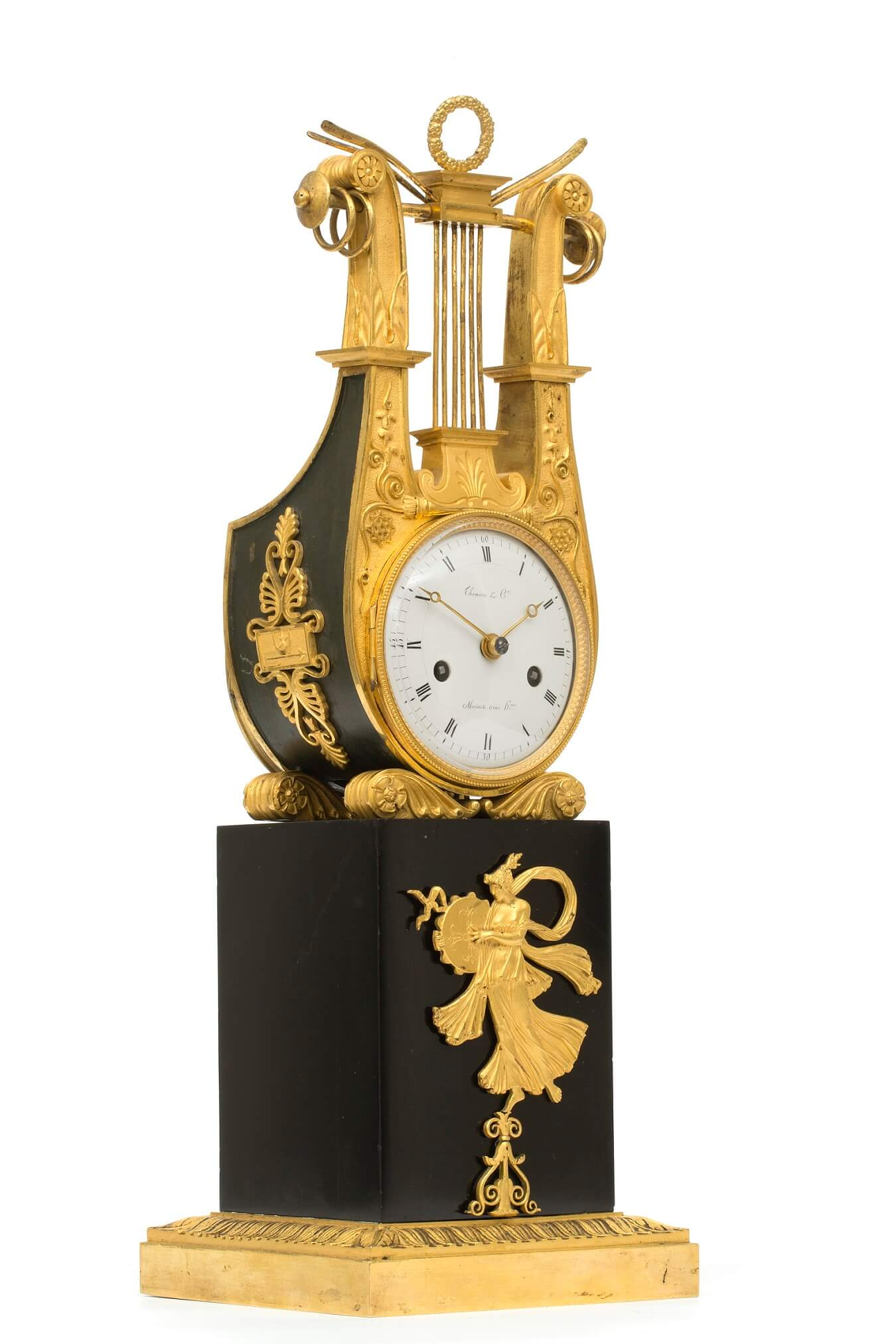 French-Empire-Thomire-ormolu-lyre-mantel lock-antique clock-