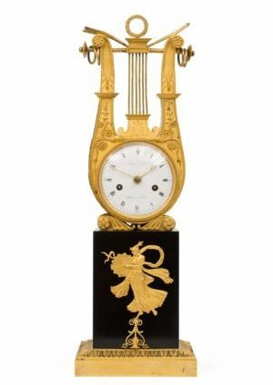 A French Empire Ormolu And Marble Lyre Mantel Clock By Thomire & Cie, Circa 1810