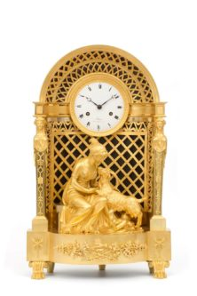Antique Clock Empire French Ormolu Amalthea Zeus Sculptural
