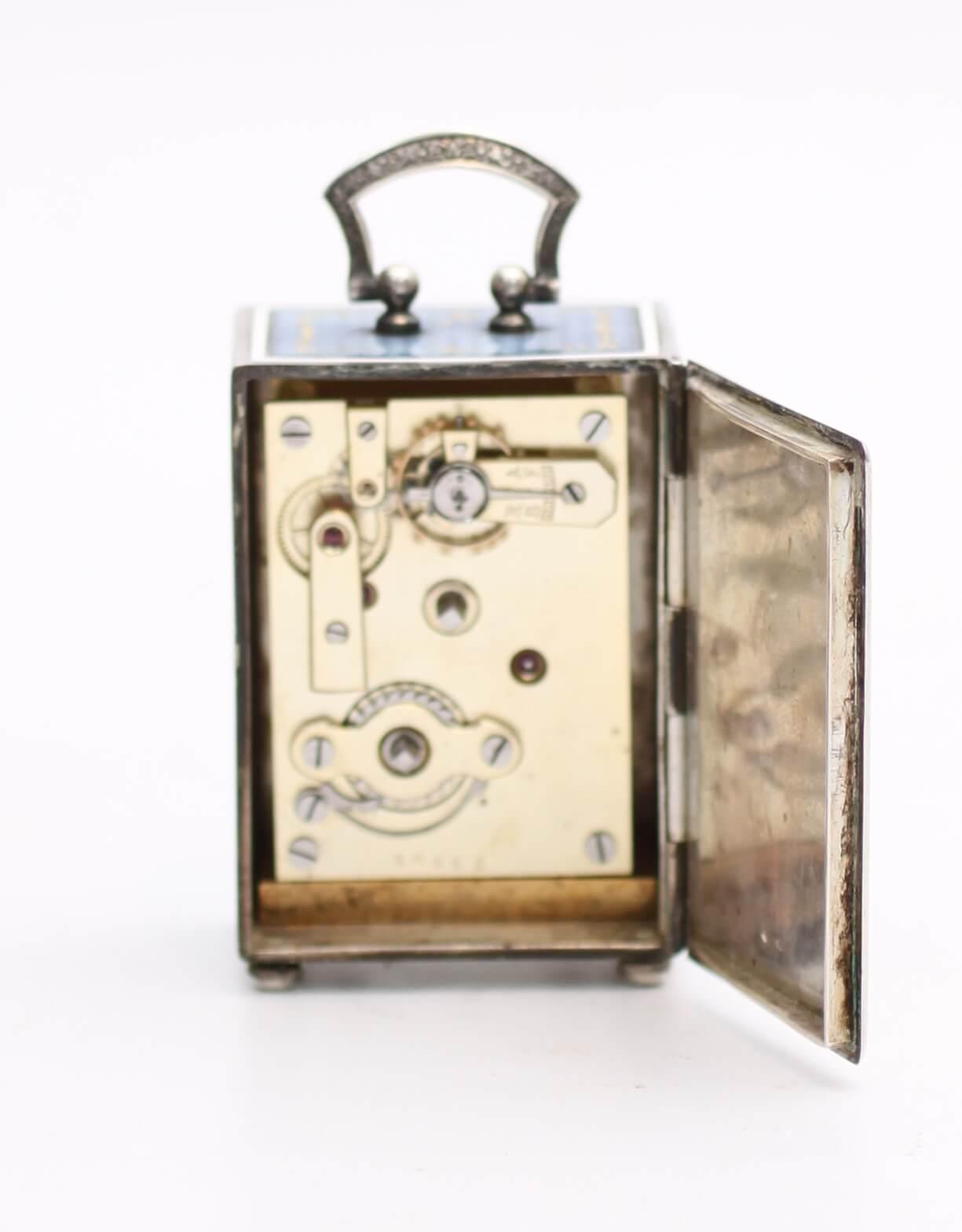 Swiss guilloche translucent enamel silver miniature travel clock
