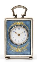 Swiss Guilloche Translucent Enamel Silver Miniature Travel Clock