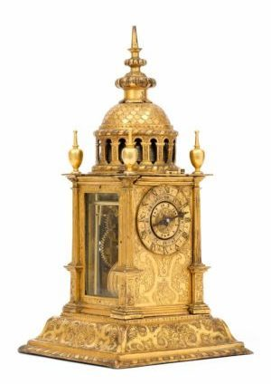 A South German Gilt Copper Striking And Alarm 'Türmchenuhr' Table Clock, Circa 1620