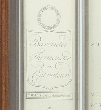 Dutch-Louis XVI-mahogany-barometer-P. Wast-Wast-Amsterdam-1810